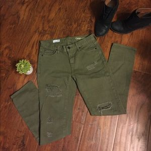 "GAP Jeans - {Gap 1969} Distressed Olive ""Girlfriend"" Jean"