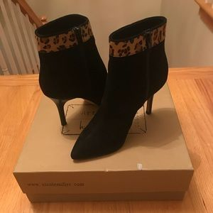 Black suede booties with leopard trim  size 6 NEW!