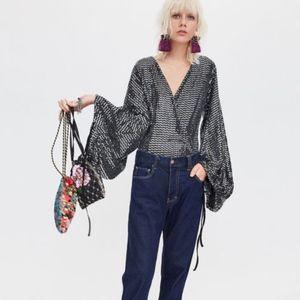 Zara Sequin Bodysuit Small