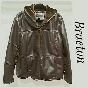 Braeton Leather-Like Jacket Brown Size 3X