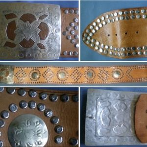 Accessories - Brown Leather Studded Wide Belt