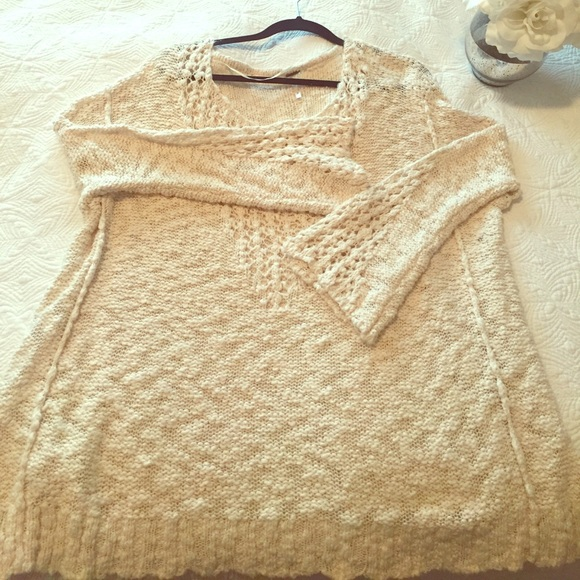 Free People sweater with crochet detail