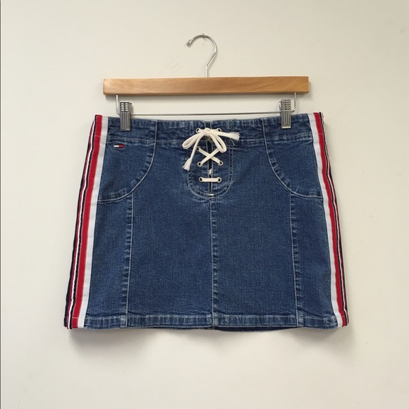 Details about Vintage 2002 TOMMY HILFIGER JEANS with Red Blue Waist Band Trim Women Size 13