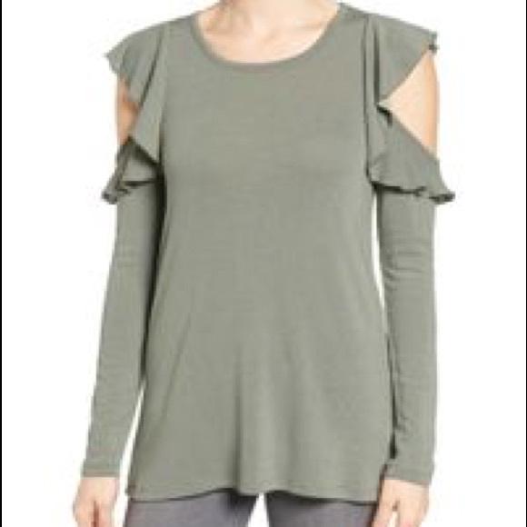 e8e996cb308e32 (Pleione ) Knit Ruffle Cold shoulder top