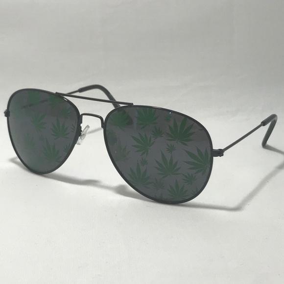 73c748cbbb2d1 Black Frame Marijuana Leaf Sunglasses