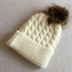 Other - Boutique white knitted hat for baby 0-36 mo.