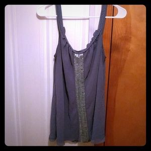 Slate Blue Chiffon Cami w/ Sequins & Braid detail