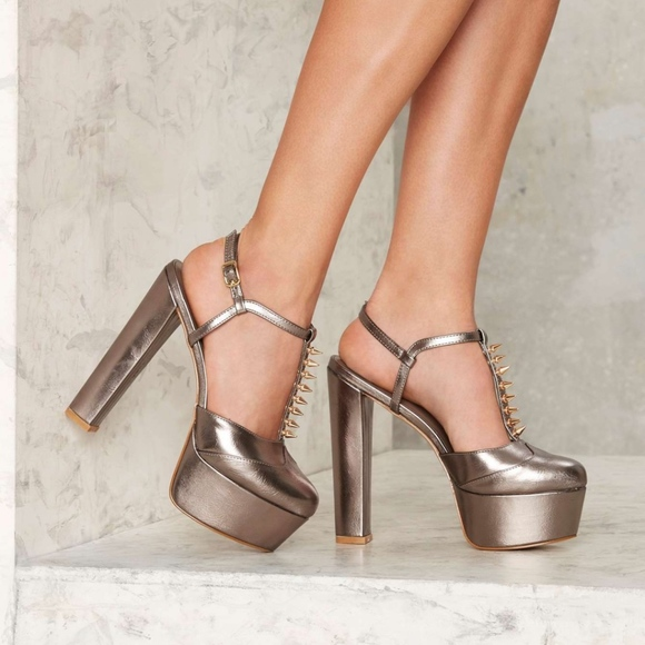 66a9101f957 Privileged Spike Out Metallic Platform nasty gal