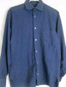Ermenegildo Zegna Shirts - ERMENEGILDO ZEGNA MADE IN ITALY Men's Blue BUTTON