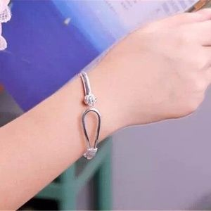 Jewelry - Silver Flower Bangle Bracelet Fashion Cuff