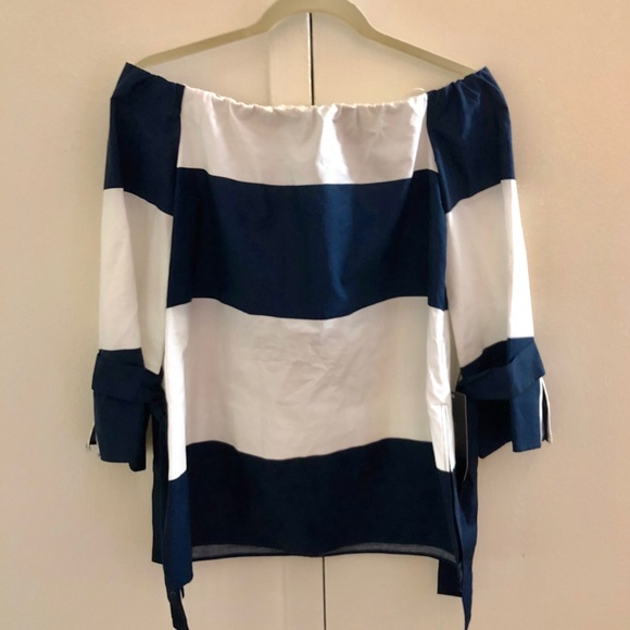 0d394f214bd Zara off-shoulder nautical navy striped top NWT