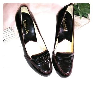 Burgandy Michael Kors penny loafer pumps