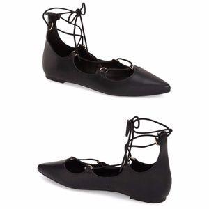 Topshop Lace-up Flats Black Leather Sz. 7