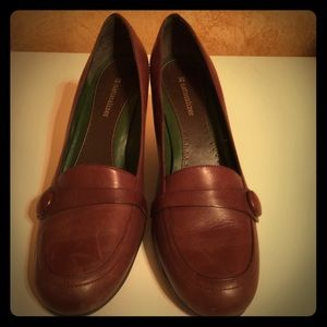 Naturalized Brown Leather Wedges