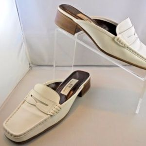 Etienne Aigner White Backless Loafer Size 7 Wide