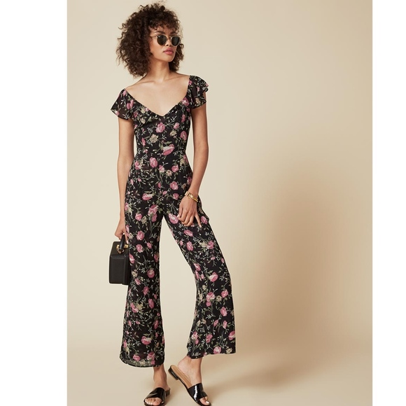 hot-selling discount best cheap 100% authentic Reformation Miri Jumpsuit Black & Pink Floral NWOT