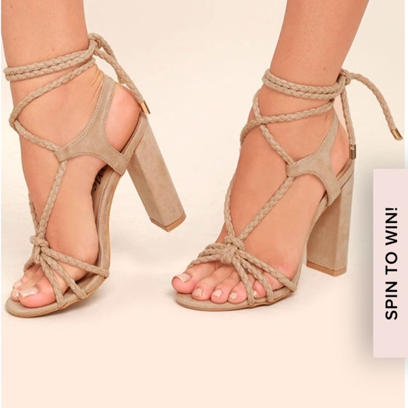 a77d513ed266 Lulu s Ophelia Nude Suede Lace-Up Heels