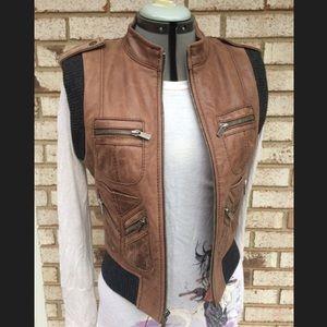 BCBG Real Leather & Knit Classic Vest
