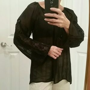 Tops - Sheer Bell-sleeve with lace detail blouse