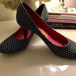 Blue & White Polka-Dot Heels