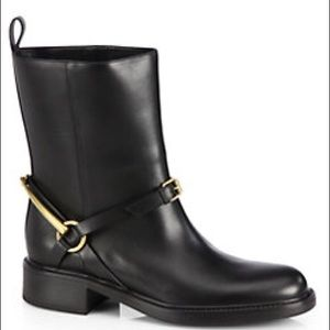 Gucci Black Tess Leather Horse-bit Boots 10 NWT