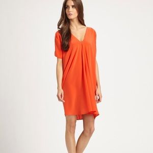 {vince} orange shirred silk tunic length dress