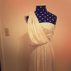 Silk off the shoulder evening gown