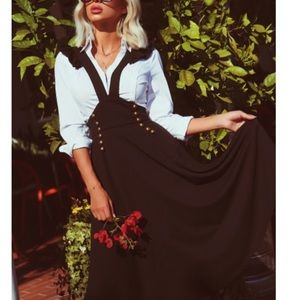 DOUBLE BREASTED PINAFORE SKIRT