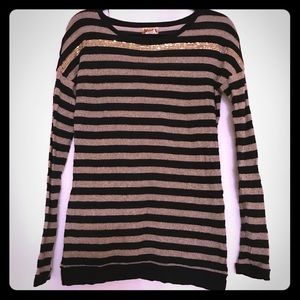 Gold and black striped sweater