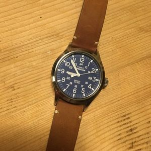 Timex Indiglo expedition blue with brown leather