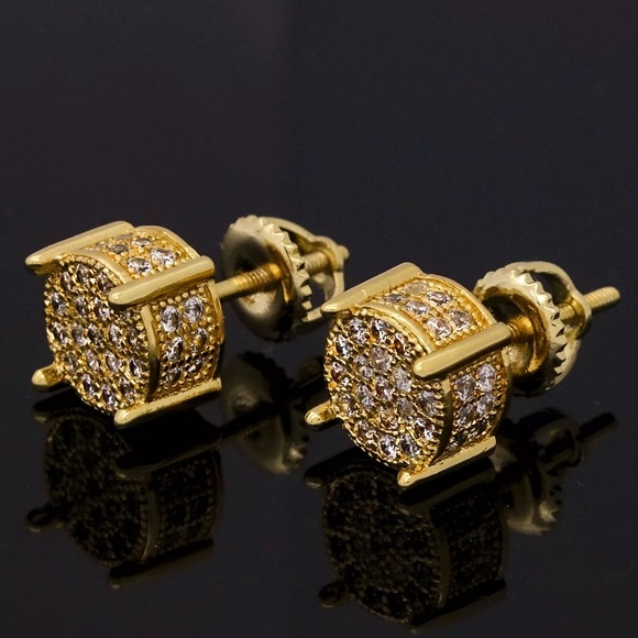 18fb52deb Accessories | Gold Micro Pave Round Mens Diamond Earrings New | Poshmark