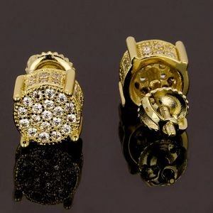 Accessories - Gold Micro Pave Round Mens Diamond Earrings NEW