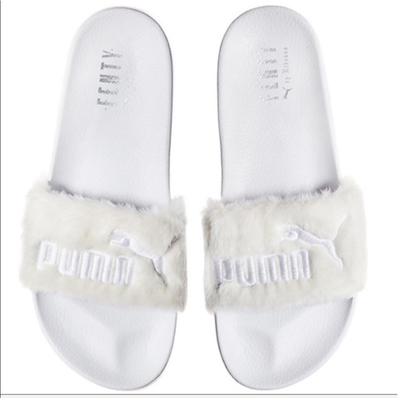 54446b01526c FENTY PUMA FUR WHITE ANGEL 👼 SANDAL SLIDES
