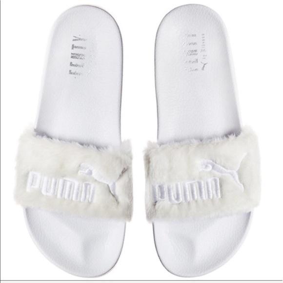 FENTY PUMA FUR WHITE ANGEL 👼 SANDAL SLIDES 36ed61ff8205