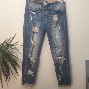 Ankle Ripped Boyfriend Jeans