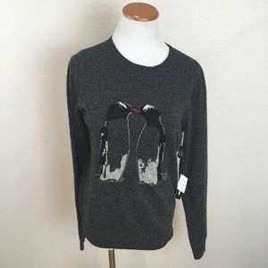 NWT Sister Penguin Gray Crew Neck Sweater Large