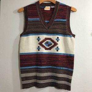 Vintage Knit Vest Native American Print
