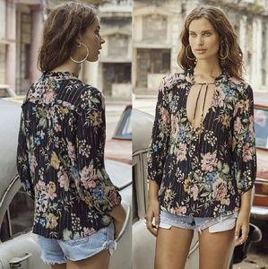 New auguste delilah boho blouse top black bloom XS