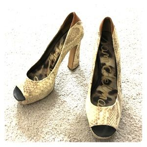 ❤️Sam Edelman leather snakeskin heels sz 10 med ❤️