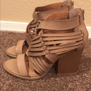 Qupid light taupe strappy sandals