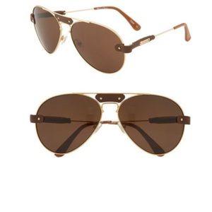 Chloe aviator sunglasses with brow leather trim
