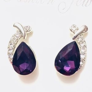 Jewelry - Amethyst Purple Crystal Silver Pendant Earrings