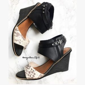 Dolce Vita Reptile and Black Open Toe Wedges