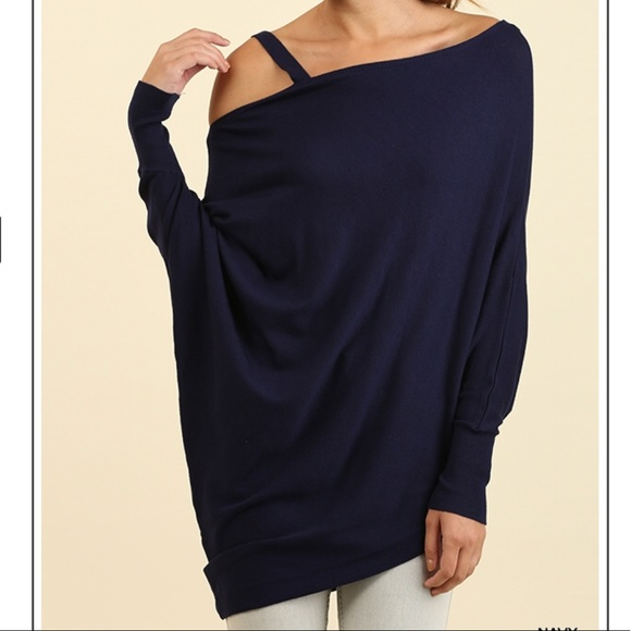 56c0fa56619 Umgee Sweaters | Asymmetrical Cold Shoulder Sweater Tunic Batwing ...