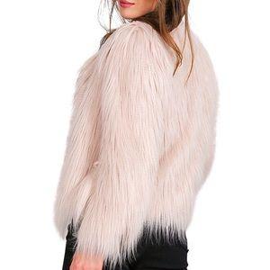 Jackets & Blazers - Pale Pink Faux Fur Rockstar Jacket,S-XXXL