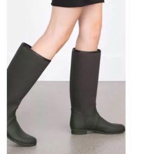 ZARA Dark Green Knee Rain Boot