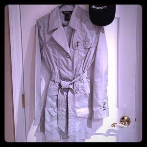 Nylon rain coat ☔️ cute style, cream & silver tone