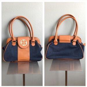 Iman tan and denim blue handbag satchel!