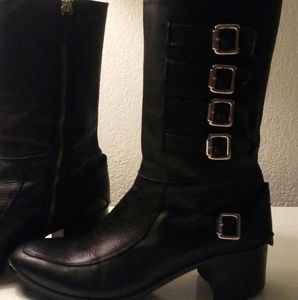 Zara leather  strappy  boots 11