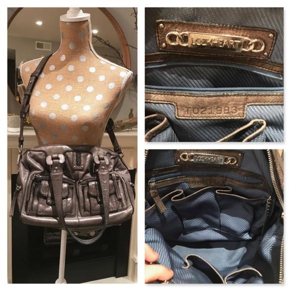 529d57e92b62 Lockheart Handbags - LOCKHEART Large Gray Leather Purse Handbag